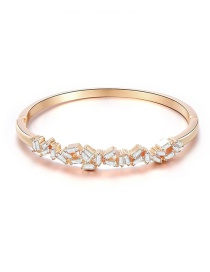 Fashion Rose Gold Geometric Bangle Bracelet With Diamonds