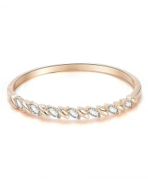 Fashion Rose Gold Alloy Diamond Leaf Geometric Bracelet