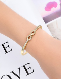 Fashion Golden Alloy Diamond Hollow Lucky Number 8 Bangle