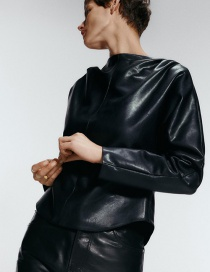 Fashion Black Leather Embroidered Top