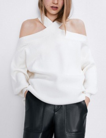 Fashion White Halter-paneled Off-the-shoulder Loose-fit Sweater