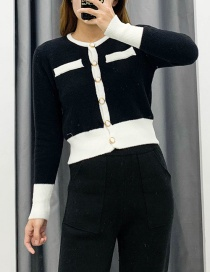 Fashion Black Patchwork Mink Knitted Cardigan