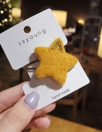 Fashion Yellow Pentagram Wool Felt Hair Clip