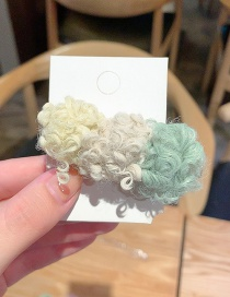 Fashion Yellow Rice White Green Cashmere Contrast Hair Clip