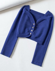 Fashion Blue Button-neck Open-neck Cropped Sweater