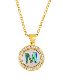 Fashion Golden M Alphabet Round Shell Diamond Necklace