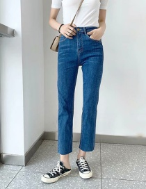 Fashion Blue Washed High Rise Stretch Straight Frayed Jeans