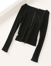 Fashion Black Ribbed Double-zip T-shirt