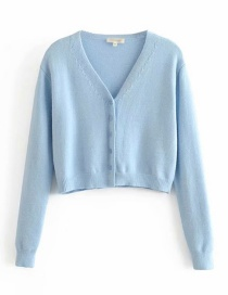 Fashion Light Blue Knit V-neck Single-breasted Sweater
