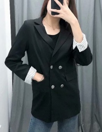 Fashion Black Double-breasted Suit With Striped Cuffs