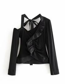 Fashion Black Open Collarbone Shoulder Fungus Panel Shirt