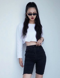 Fashion White Solid Color Round Neck Short Sweater