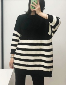 Fashion Black Striped Knitted Sweater