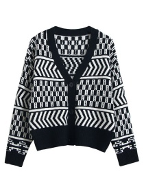 Fashion Black Geometric Contrast V-neck Knitted Sweater