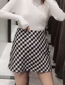 Fashion Black And White Tweed Checked A-line Skirt