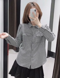 Fashion Black And White Houndstooth Shirt With Pockets