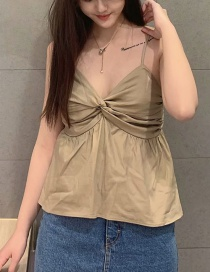 Fashion Khaki Twisted V-neck Halter Shirt