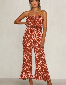 Fashion Red Flower Print Sling Ruffled Jumpsuit