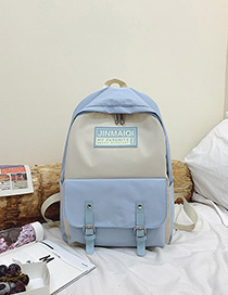 Fashion Blue Trumpet Contrast Stitching Belt Buckle Backpack