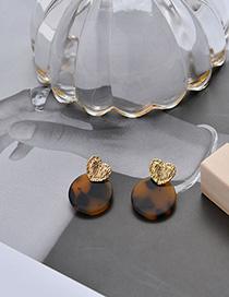 Fashion Dark Brown Leopard Pattern Acrylic Love Irregular Irregular Earrings
