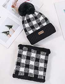 Fashion Black Two-piece Suit With Velvet And Color Check Wool Ball Hat Bib
