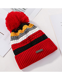 Fashion Red Stitched Contrast Color Padded Knitted Hat