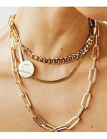 Fashion Golden Thick Chain Letter Disc Embossed Multilayer Necklace