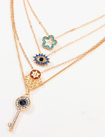 Fashion Color Key With Pentagram Eyes And Diamond Necklace