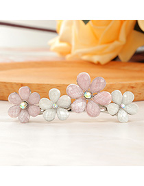 Fashion Pink Flower Spring Clip With Diamonds