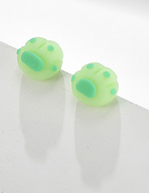 Fashion Green Contrast Stitching Bear Palm Earrings