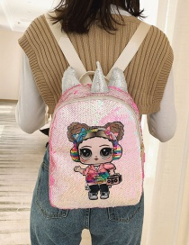 Fashion Pink Sequin Surprise Doll Children Backpack