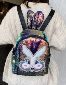 Fashion Golden Children's Backpack With Sequined Bunny Ears