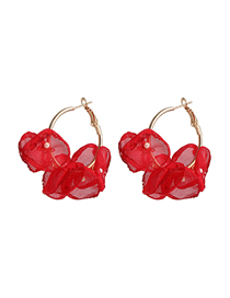 Fashion Red Flower Lace Pearl Earrings