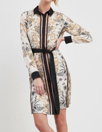 Fashion Color Printed Patchwork Contrast Lace-up Shirt Dress