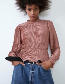Fashion Leather Pink Pleated Corset Fungus Top