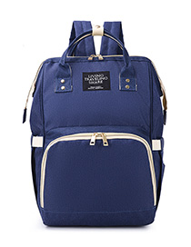 Fashion Dark Blue Contrast Stitching Backpack