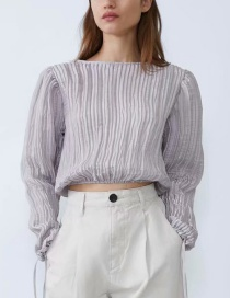 Fashion Gray Lace-up Pleated Top