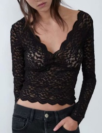 Fashion Black V-neck Lace Front And Back Lace T-shirt