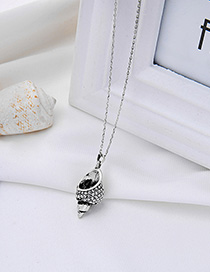 Fashion Ancient Silver Conch Geometric Necklace With Diamonds