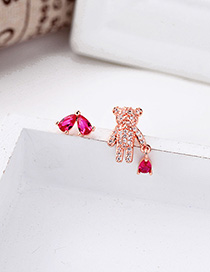Fashion Rose Gold Asymmetric Bear Earrings With Diamonds And Hearts