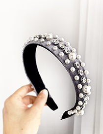 Fashion Gray Gold And Velvet Headband With Pearl And Diamonds