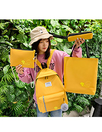 Fashion Yellow Four-piece Backpack With Patchwork Print