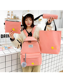 Fashion Pink Four-piece Backpack With Patchwork Print