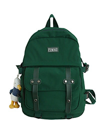 Fashion Dark Green With Pendant Panel Flap Buckle Backpack