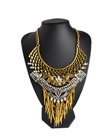 Fashion Golden Zinc Alloy Diamond Cutout Geometric Necklace