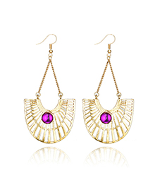 Fashion Golden U-shaped Diamond Cutout Earrings