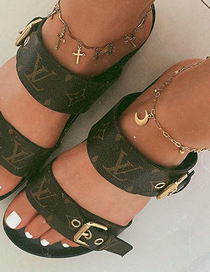 Fashion Golden Cross Moon Love Anklet Set