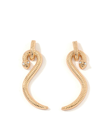 Fashion Golden Curved Metal Stud Earrings With Diamonds