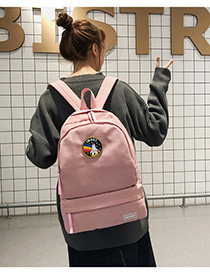 Fashion Pink Letter Patch Backpack