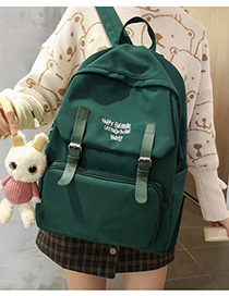 Fashion Dark Green With Pendant Letter-print Backpack With Patch Belt Buckle